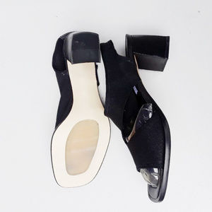 A. Marinelli black mesh heels.  Made in Spain.  9N